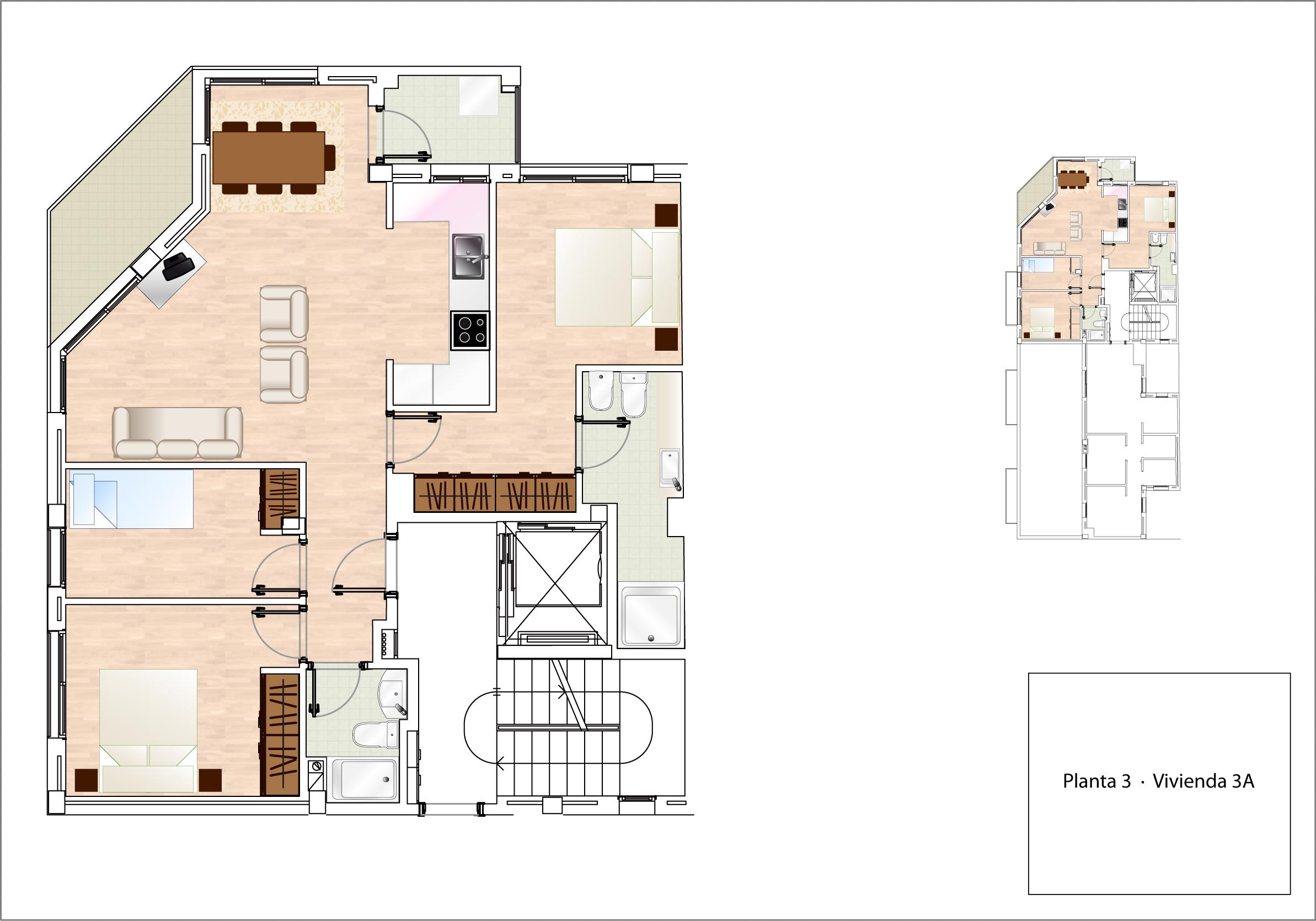 Plano Vivienda 3A - planta 3